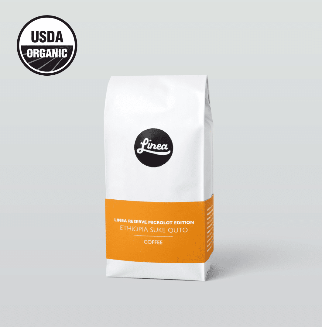 Ethiopia Suke Quto coffee bag and UDSA Organic badge