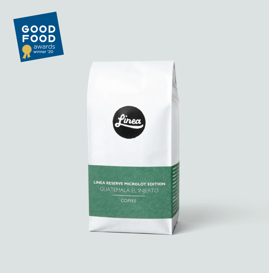 Guatemala El Injerto coffee with the Good Food Awards Winner '20 badge