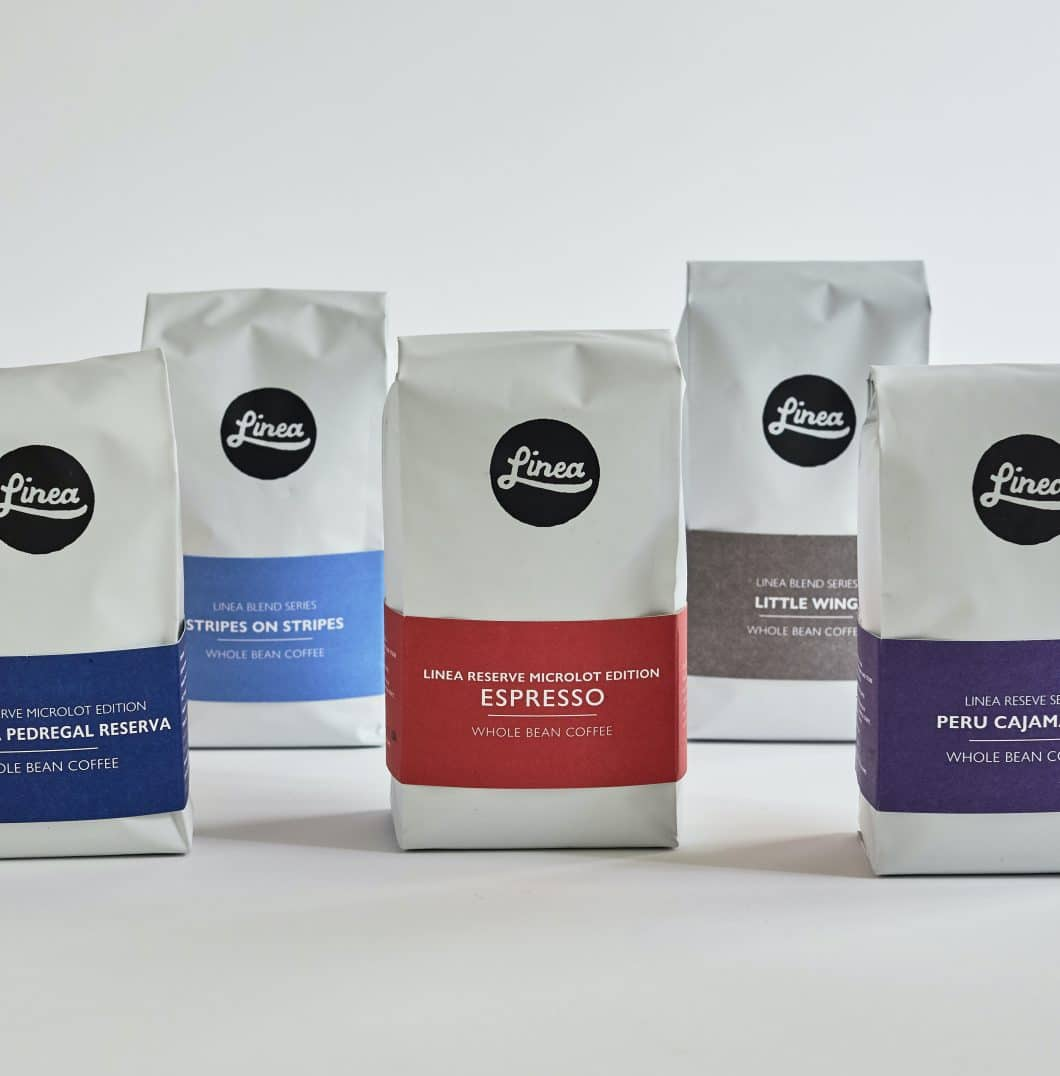 A selection of 10 ounce Linea coffee bags